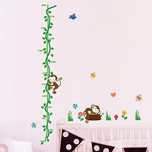 ufengke® Affe und Baum Vine Blumen und Schmetterlinge Höhe Diagramm Abziehbilder, Kinderzimmer Babyzimmer Entfernbare Wandtattoos Wandbilder, B (Baum-höhe-diagramm)