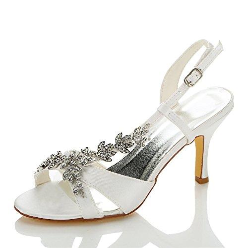 Ouvert 1415A Ivoire Sandales Pour en Satin JIA Mariage Bout de JIA de Chaussures Mariée Talon Mi Strass Chaussures Femme 4x4g1q8B