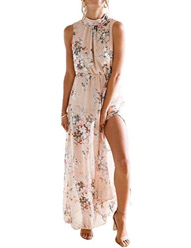 chuangminghangqi Donne Elegante Abito da Cerimonia Sera Lungo Schienale Fascia Vestito Senza Maniche Estivo Casual Floreale Fiori Fantasia Dress (M, Rosa)