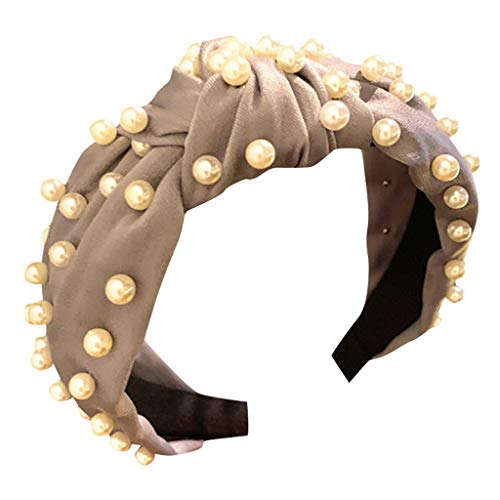 Honestyi Frauen Kristall Stirnband Stoff Haarband Kopf Wickeln Zubehör 4,23-16 breitkrempige Nägel Perle geknotet Gesicht Haarschmuck süß Druck Haar Tiara Frau Perlen grau -