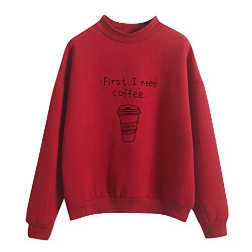 FeiBeauty Sweatshirts Damen Kaffeetasse Muster Pulli Einfarbig Sport Langarm Reißverschluss Pullover Outerwear Rundhal Langärmlig Pullover Langarm T-Shirt Oberteil