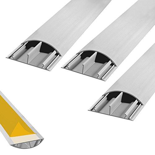 Fussboden TV Kabelkanal selbstklebend 3x 1m grau 50 x 12mm Kanal Wand Boden Fußboden Kabelbrücke halbrund rund Kabel 3 Stück ARLI