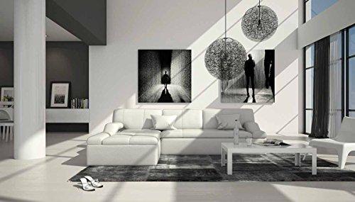 SalesFever Polster-Ecke mit Kunstleder Bezug weiß 240x235 cm | Varegua-L | Design Sofa-Garnitur in L-Form Recamiere Links | Eck-Couch für Wohnzimmer Weiss 240cm x 235cm -