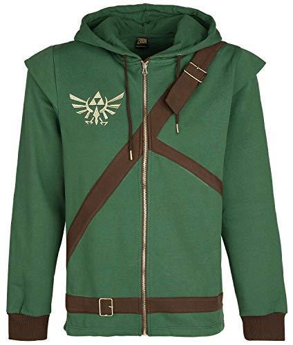 The Legend of Zelda Cosplay Zip-Hoodie Kapuzenjacke grün/braun - Legend Of Zelda Link Kostüm Hoodie
