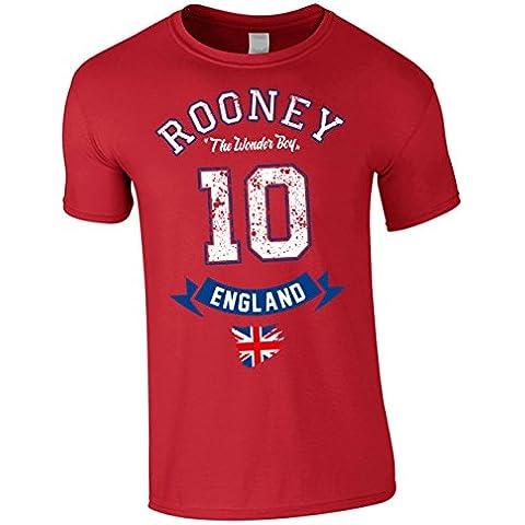 T-Shirt Uomo Inghilterra Nazionale Rooney The Wonder Boy Rosso XXL