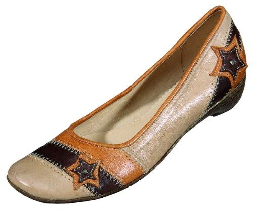 MICCOS Shoes Escarpins pour femme Semelle Cuir Nappa, TR beige/komb.