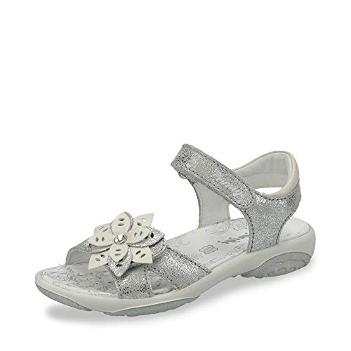 PRIMIGI 3389222 PBR 33892 Mädchen Sandale aus Glattleder mit Lederausstattung, Groesse 34, hellblau/Silber