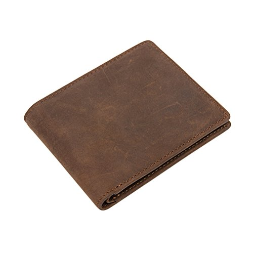 Mens Hohe Luxus Soft Leder Tri Fold Design Wallet Kreditkarte Slots, Id-Fenster Und Coin Pocket, Kaffee (Tri-fold Wallet Coin)