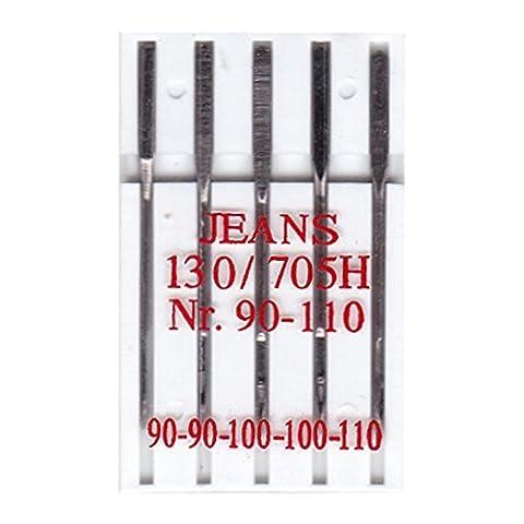 BIG-SAM 10002 - 5 Jeans Nähmaschinennadeln - 130R/705H - Nr. 90 - 110
