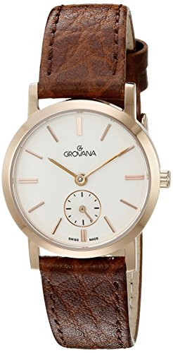 GROVANA 3050.1562 Women's Quartz Swiss Watch with Silver Dial Analogue Display and Brown Leather Strap