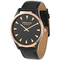 Johan Eric Herren JE9000-10-007 Black and Rose Gold IP Leather Armbanduhr