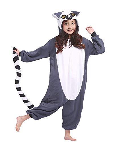 DELEY Unisex Mädchen Jungen Mit Kapuze Nachtwäsche Kinder Pyjamas Cartoon Tier Onesie Cosplay Kostüm Lemuren ()