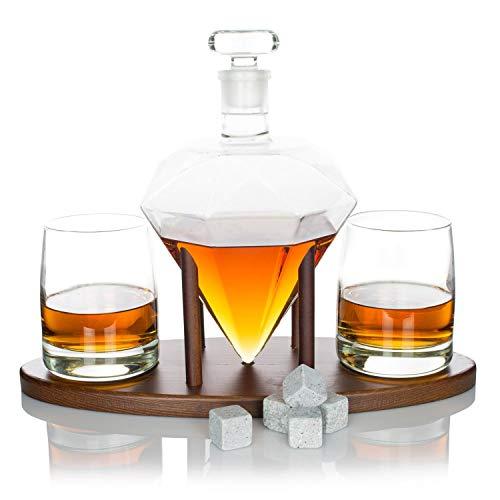atterstone Diamant-Dekanter-Set/Full Set mit Custom Mahagoni Dekanter Ständer, 2Diamant Whisky Gläser, Whiskey Steine und Trichter aus Edelstahl Full-dekanter