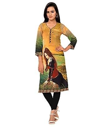 Venu Sarees Crepe Saree (American Crepe Blend Digital Kurti 104_Multi-Coloured)