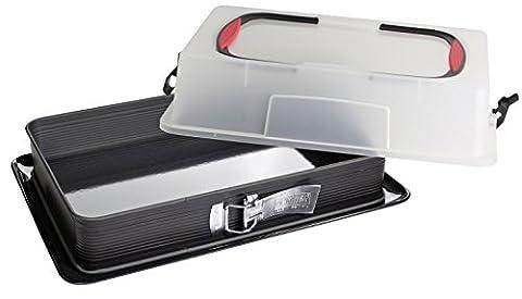 Zenker Rechteck Spring-Form mit Haube zum Transport, Kuchentransportbox mit Emaille-Boden,
