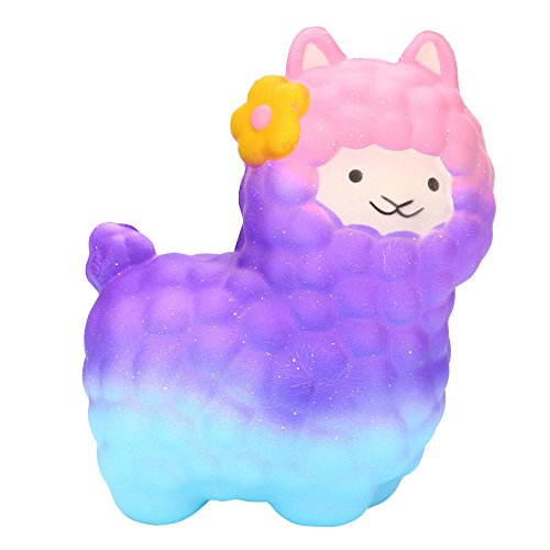Most Popular! Jumbo Sheep Squishy Cute Alpaca Toys, GreatestPAK Children Squishies Super Slow Rising Stress Reliever Anxiety Gift For Girls Boys Adults (Purple)