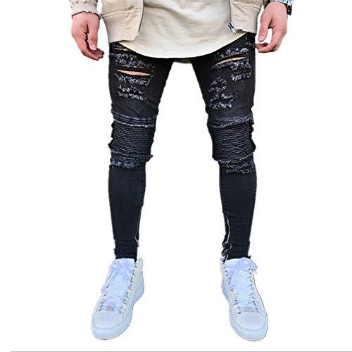 Somesun uomo elastico strappato magro biker jeans pantaloni denim slim fit con zip distrutti da uomo stretti in denim stropicciati casual alla moda skinny caviglia elasticizzati larghi