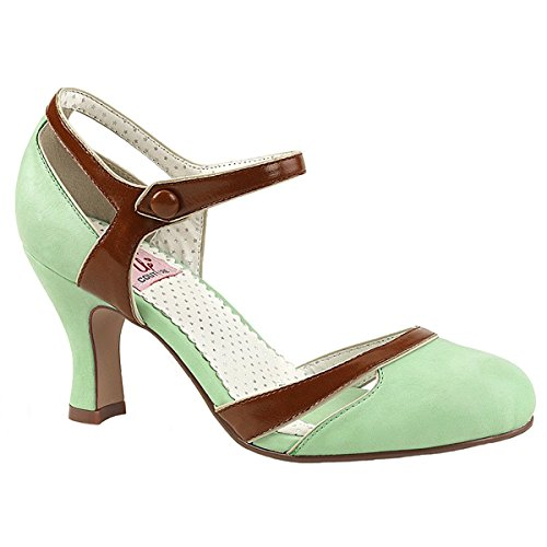 Pin Up Couture FLAPPER-27 Damen Retro Pumps, Lederimitat Mint, EU 39 (US 9)