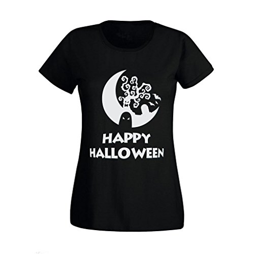 lloween Scary Ghost Tree High Quality Printed T Shirt UK S-XXL (Small) Black (Scary Halloween-bäume)