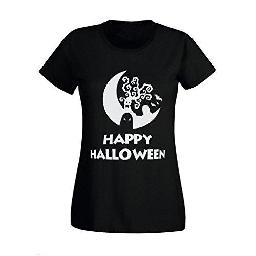 Women Girls Happy Halloween Scary Ghost Tree High Quality Printed T Shirt UK S-XXL (Small) Black