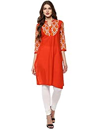 Rangeelo Rajasthan Printed Women's Straight Cotton Kurta(Special Kurti For Festival |And Party)