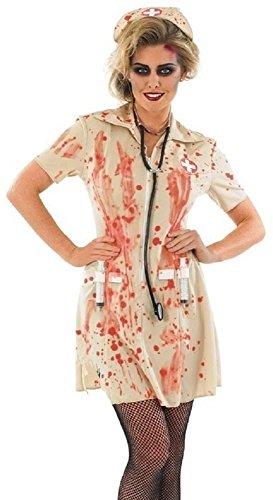Krankenschwester Zombie Kostüm Übergröße - Damen Zombie Blutiges Dead Nurse Halloween gruslige Kostüm Kleid Outfit mit Spritze 8-22 Übergröße - Braun, Braun, 20-22