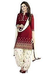 Lovisa Fashion Woman's Red Cottan Printed Dress Materials