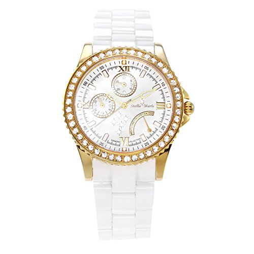 Stella-Maris-STM15N5-Womens-Watch-White-Watch-Dial-Analog-Quartz-White-Ceramic-Bracelet-Diamonds-Swarovski-Elements-Stylish-Classy