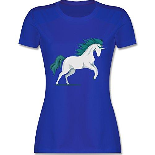 Shirtracer Einhörner - Steigendes Einhorn - Damen T-Shirt Rundhals Royalblau