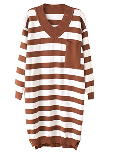 MatchLife Femme Pullover Lache en Tricot Sweater Rayé Pull Robe Col V Manches Longues Style1-Café