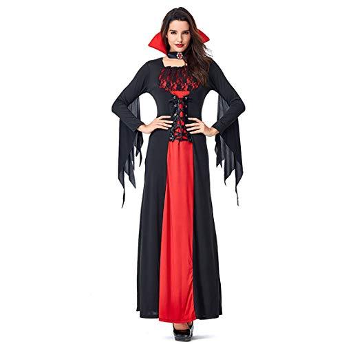 HOOLAZA Frauen Rollenspiele Vampire Dämon Teufel Kostüm Versuchung Fledermaus Lang Cosplay Kleid 2 Stücke