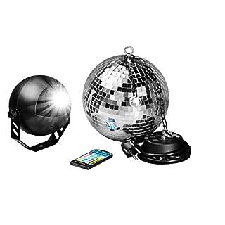 7even® LED Spiegelkugelset 20cm mit Fernbedienung, LED-RGB Spot, Discokugel, Motor alles inklusive! LED Farbwechsler Discokugel Komplettset