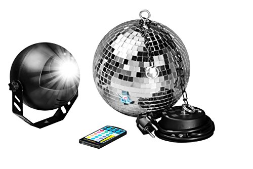 7even LED Spiegelkugelset 20cm mit Fernbedienung, LED-RGB Spot, Discokugel, Motor alles inklusive! LED Farbwechsler Discokugel Komplettset