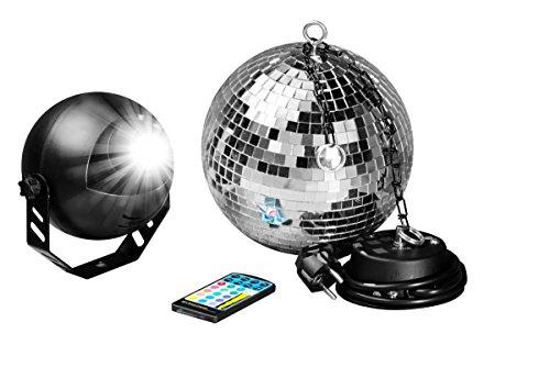 7even® LED Spiegelkugelset 20cm mit Fernbedienung, LED-RGB Spot, Discokugel, Motor alles inklusive! LED Farbwechsler Discokugel Komplettset (Motor Jahrhundert)
