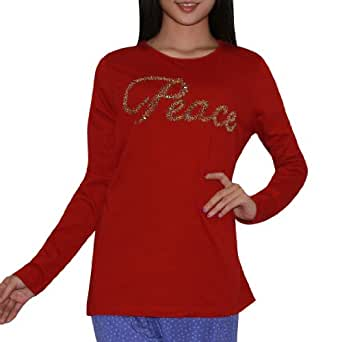 Womens Peace Long Sleeve Sleepwear / Pajama Top (Festive Winter / Christmas) - Dark Red (Size: XL)