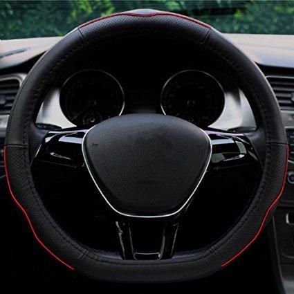 Sclmotor Noir en forme de D en cuir véritable Housse de volant de voiture universel 38,1cm