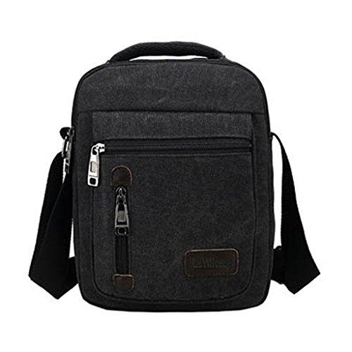 MeCooler Herren Umhängetasche Retro Canvas Messenger Schultaschen Vintage Taschen für die Schule Sporttasche Reisetaschen Weekender Reisetasche Kleine Strandtasche Lässige Schultertasche Bag Schwarz