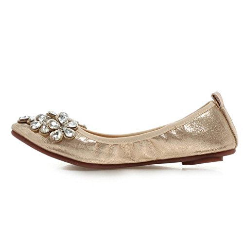 COOLCEPT Caoutchouc Escarpins Plat Sole Confortable Ballet Enfiler A Or Femme Doux rSqYHr