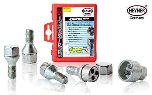 Heyner StilBull ruota di bloccaggio per dado M12x1,5 bullone, 60 gradi sede GM Set di 4 e chiave di rimozione protezione antifurto