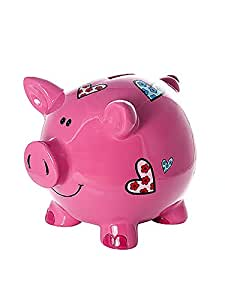 Kids Or Adults Large Pink Pig Piggy Bank With Hearts Gift ...