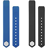 Letscom Replacement Straps for ID115HR or ID115, 2 Pack(Black+Blue), Not for ID115PLusHR / ID115U