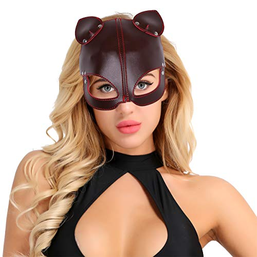 dPois Japanische Fuchs Maske Halbmaske PU Leder Maske mit Ohren Gesichtsmaske Augenbinde Augenschutz Cosplay Maske für Masquerades Party Karneval Halloween Brownish Red One Size