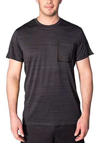 RBX Active Mens Athletic Workout T-Shirt w/ Pocket Black Heather M (Workout Shirt Athletic)
