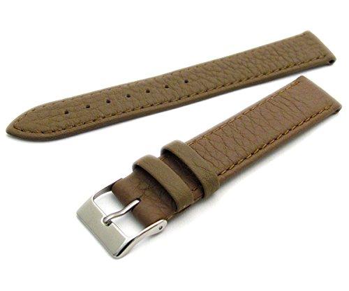 Super Soft Cow Hide Leder Uhrenarmband von Condor taupe 22mm breit, chrom (Silber Farbe) Schnalle 348r.03