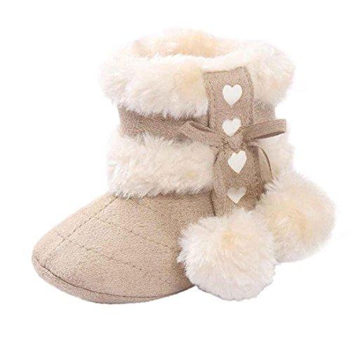 FNKDOR Babystiefel Soft Sole Schnee Stiefel Soft Kleinkind Schuhe(06-12 Monate,Beige) Säuglings-high-top-schuhe Mädchen