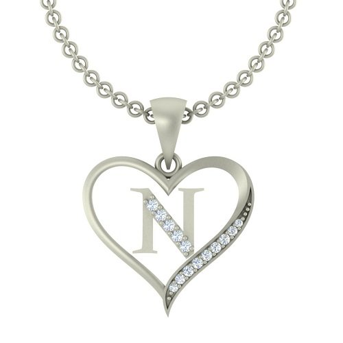 "Kanak Jewels Initial Letter ""N"" In Heart Shaped With Chain Silver Plated Cubic Zirconia Brass Pendant For Everyone"