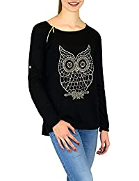 S&LU tolles Damen-Langarmshirt mit schöner Eulen-Nietenapplikation im Vokuhila-Style XS-L