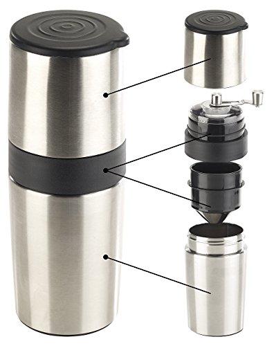 Rosenstein & Söhne Reisekaffeemaschine: 3in1-Edelstahl-Kaffeebereiter mit Kaffeemühle und Dauerfilter, 450 ml (Autokaffeemaschine)
