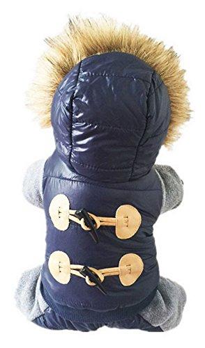La vogue Hund Mantel Warm Winter Jacke Wasserdicht Kleidung für Kleine Hunde Blau S