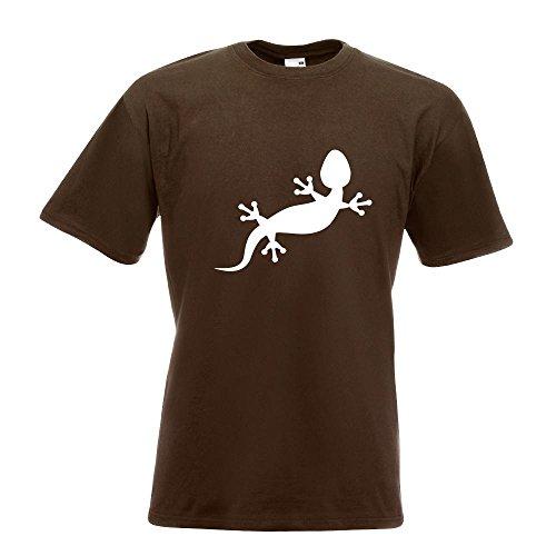 KIWISTAR - Gecko Motiv 2 T-Shirt in 15 verschiedenen Farben - Herren Funshirt bedruckt Design Sprüche Spruch Motive Oberteil Baumwolle Print Größe S M L XL XXL Chocolate